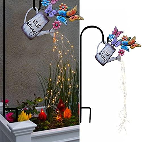 LUDAXUE Regadera Lata mágica jardín luz Impermeable decoración de jardín DIY labrado Hierro Estrella riego Estrella Ducha jardín Arte luz decoración luciérnaga Luces vides (Color : UN)