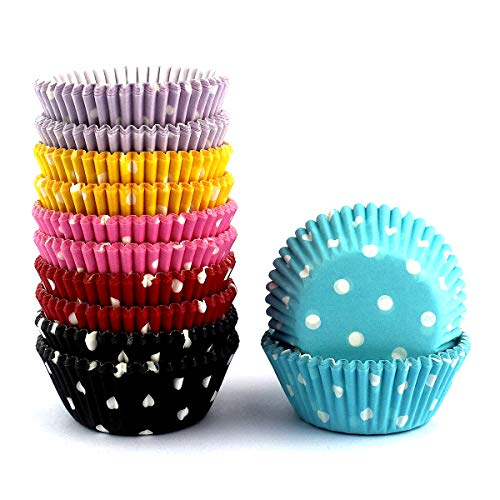 Mkustar 300 Count Mini Cupcake Liners Polka Dots Baking Paper Cups