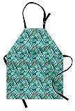 ABAKUHAUS Tavola da Surf Grembiule, Tropic Floral Design, Comodo per la Cucina Unisex con Collo Regolabile per Cucinare Cuocere Arrostire e Giardinaggio, Turchese Multicolore