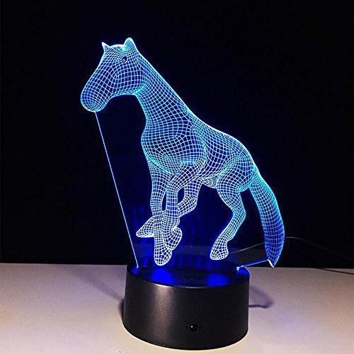LPY-Lampe 3D Cheval Illusion Animal Bureau Table Night Light, 7 Couleur Tactile Lampe pour Enfants, Filles, Cadeau de Vacances en Famille, Home Office Thème Décoration