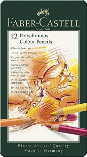 Faber Castell 110012 Matite Colorate per artisti Polychromos, astuccio in metallo da 12