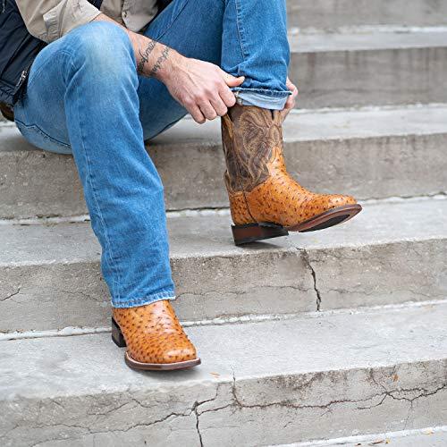 Dan Post Boots Mens Alamosa Ostrich Square Toe Dress Boots Mid Calf - Brown - Size 10 D