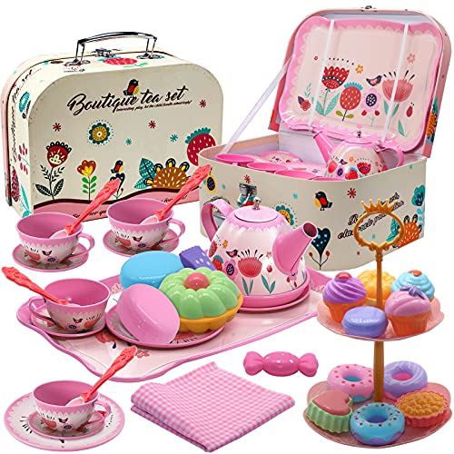 Tea Party Set for Little Girls, 35 Pcs Princess Tea Time Accessories with Carrying Case Tablecloth Dessert Tray Tea Cups Candy Macaroons Cake Kitchen Pretend Play Toy for Toddlers Kids Ages 3 4 5 6 7+