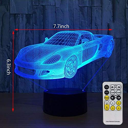 Only 1 Piece 3D Night Lights for Kids with Remote Controller or Touch Sensor LED Touch Changing Toy Car Desk Lamp