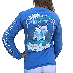 Southern Attitude Baby Goat Carolina Blue Preppy Long Sleeve Shirt