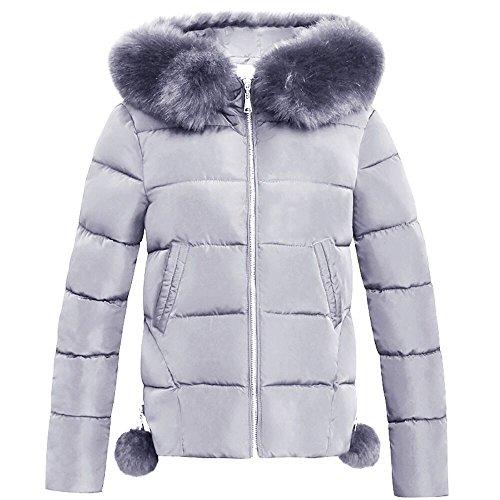 Damen Daunenjacke, iHee 2017 Neue Fashion Solide Frauen Casual Dicker Winter Slim Steppmantel Mantel Overcoat Parka (M, Grau)