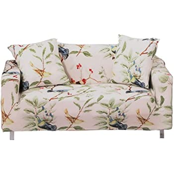 WONGS BEDDING Stretch Sofa Cover for 2 Seater 1-piece Flower Vine Printed Sofa Protector Soft Polyester with Elastic Bottom Couch Slipcover Flower Vine, 2 Seater 145cm-185cm