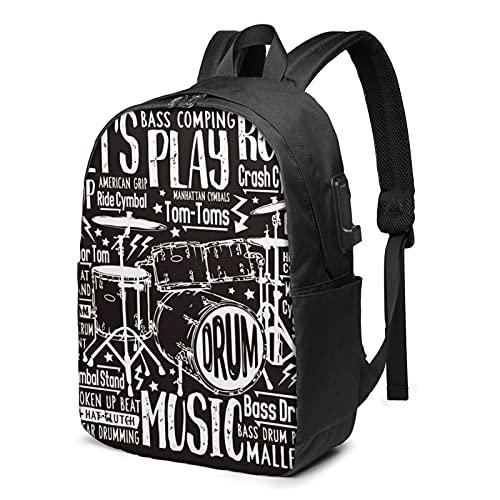 Sac à Dos Homme Femme Ordinateur Portable 17 avec Port De USB pour Voyage Affaires École T-Shirt Musique Rock Drums