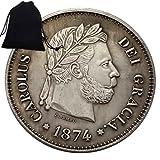 GoolCoinKit Monedas antiguas de 1874 de los guerreros españoles antiguas monedas conmemorativas del mundo divertido - Monedas antiguas de España + bolsa KaiKBax Kit de artículos divertidos