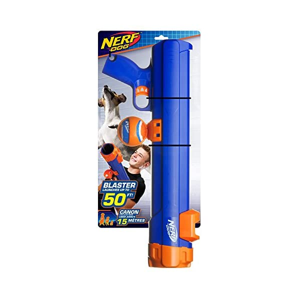 Nerf Dog Tennis Ball Blaster Dog Toy, Great for Fetch, Hands-Free Reload, Launches up to 50 ft, Balls Included, Assorted Sizes