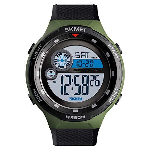 PGODYQ Orologio elettronico per attività all'aperto, multifunzione, Smart Sports cronografo, coppia luminosa, bracciale fitness, doppio time-ArmyGreen