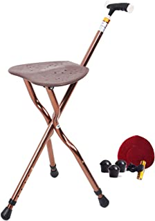 Folding Canes Seat Walking Stick Height Adjustment Cane Seat 350 lbs Capacity Combo Chairs Stool Deluxe Massage Crutches Seat Aluminum Walking Stick Travel Aid for Elder Gift Brown