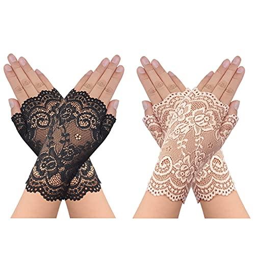 obmwang 2 Pair Women Short Lace Glove Sunblock Fingerless Bridal Floral Gloves Wedding Gloves
