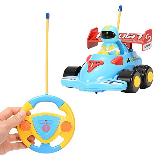 FunsLane RC Cartoon Race Car Electric Radio Control 2CH Formula Car Remote Control Car Toy with Music and Light for Kids Toddlers