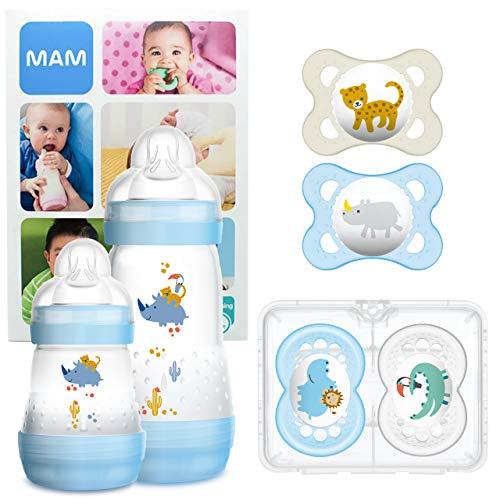 MAM First Steps Set, Regalo per neonato, Set di biberon con 2x Easy Start biberon anticolica 160/260 ml, 4x Original ciuccio in silicone (2x 0-6 mesi e 2x 6+ mesi), Bimbo