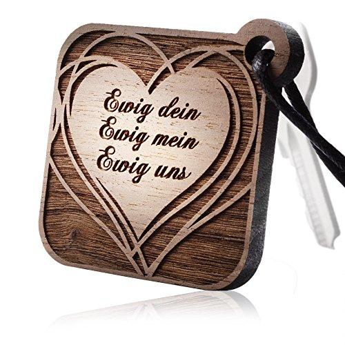 schenkYOU HEARTBREAKER Schlüsselanhänger mit persönlicher Gravur aus echtem Holz - Ihr Wunschtext - Anhänger mit Ihren Text -Herz, Name, Sternzeichen, Sprüche, Initialen, Logo uvm.
