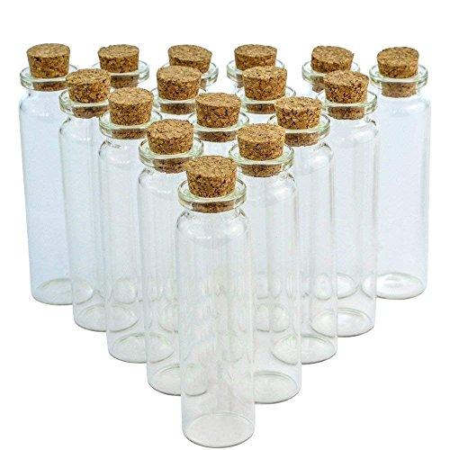 Wobe 24 Pcs 20ml Cork Jar Glass Bottles, DIY Decoration Mini Glass Bottles Sample Jars, Small Vials Cork…