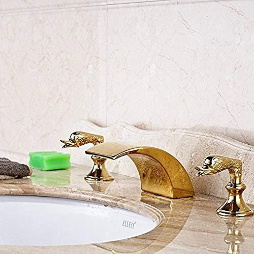 Grifo de Cocina, Grifo de lavabo de baño en cascada con mango de cisne lindo de latón dorado