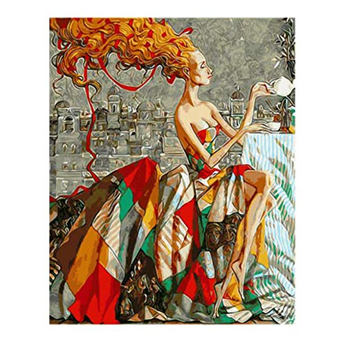 DIY Digital Painting,Hand-Painted Color Fill,Living Room Oil Painting Decorative Painting 40X50Cm,Blonde Girl Zwwcj