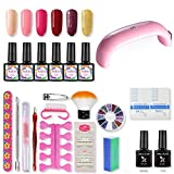 SHELLOLOH 9W Lámpara LED/U-V Secador de Uñas 6pcs Kit de Esmaltes Semipermanentes Esmaltes en Gel Uñas Soak off 10ml Base Top Coat Manicura Kit