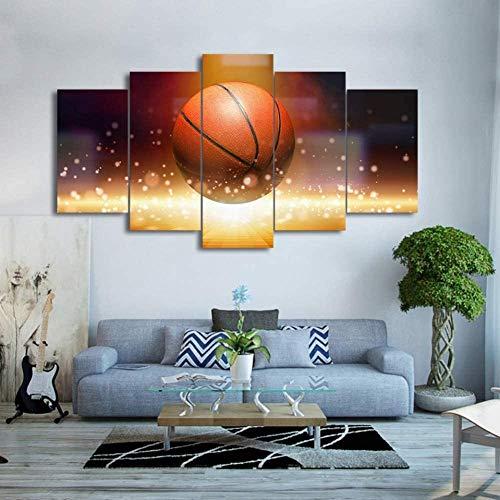 XQHH 5 piezas arte de pared abstracto, impresión HD modular lienzo arte de la pared pintura popular 5 paneles llama baloncesto imagen para sala de estar decoración cartel