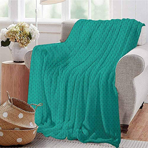 Luoiaax Teal Luxury Special Grade Blanket Knitting Inspired Pattern Sewing and Crafting Hobby Themed Design Monochrome Image Print Multi-Purpose use for Sofas etc. W55 x L55 Inch Teal
