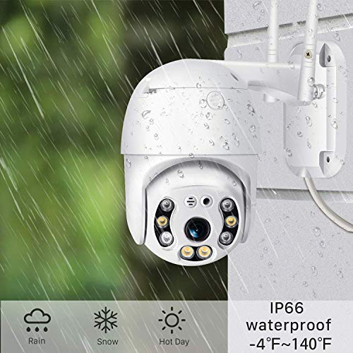 Technoview Wireless WiFi IP CCTV Security 1080p 12mp Ptz Outdoor Ip66 Waterproof Pan Tilt Speed Dome Home Surveillance Camera with Motion Detection Colour Night Vision with Adopter