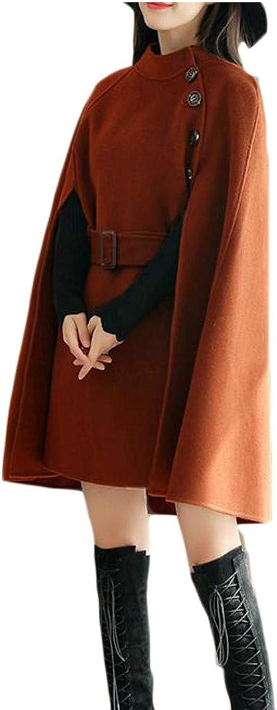 Blyent Women's Belt Button Elegant Irregular Cape Overcoat Wool Blend Coat Jacket