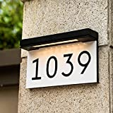 House Numbers Address Plaques For Houses Solar Powered, 3000K Warm White LED Illuminated Address Sign For Outside, Waterproof, Wireless, Light Up For Houses, Street