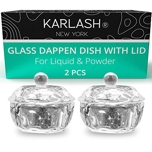 Karlash Nail Art Acrylic Liquid Powder Dappen Dish With Lid Clear Glass Crystal Cup Glassware Tools Glass Dappen Dish Nail Crystal Bowl Glass… (Pack of 2)