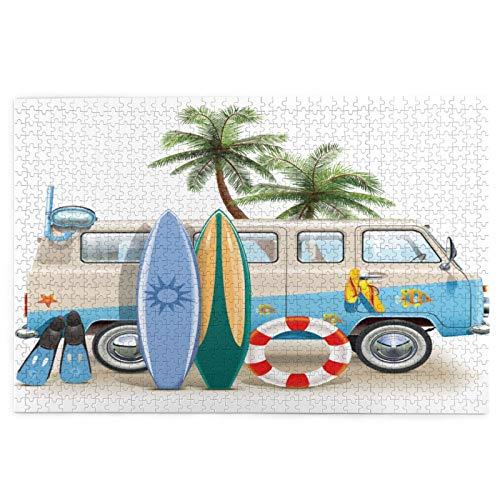 Sierra calar de 1000 piezas,Concepto de fin de semana de surf con elementos de buceo, aletas, snorkel y viaje en,juegos rompecabezas imágenes para adultos y niños Regalo graduación de boda familiar