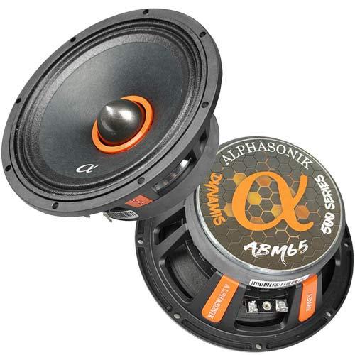 "Alphasonik ABM65 Dynamis Series 6"" Mid-Range 600 Watts MAX Car Audio Loud Speakers 4 OHM 1.5 inch Copper-Clad Aluminum 2-layer Kapton Voice Coil Midrange Pair with Grills (2 Speakers)"