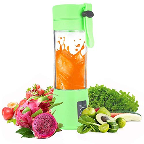 Tragbarer Mixer, tragbarer USB-Entsafter-Mixer, Mini-Saftmischer mit aktualisierten 6 Klingen 380 ml Obstmischmaschine Eiswürfelschale, abnehmbare Tasse, persönliche Mixflasche für Travel Green