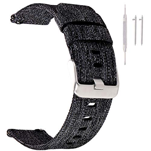 Canvas Quick Release Watch Band 22mm Nylon Black...