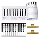 Ultimate Piano Keyboard Learning Aid Set - 1:1 Scale 88 Keys Practice Cardboard Piano Note Chart Guide, Transparent Piano Stickers for 54/61 / 88 Key Keyboards, 2 Music Book Clip