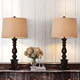 Oneach Table Lamp Set of 2 for Bedroom Rustic Bedside Table Desk Lamps for Living Room Study Office Minimalist Lamps Set Bronze