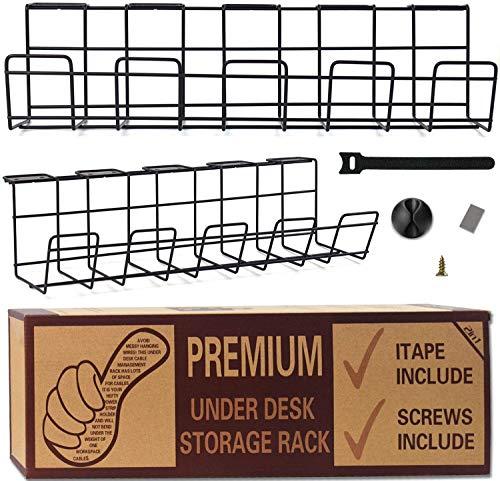 Kabelkanal Schreibtisch, Kabelführung, Cable Management -2 Stücke kabelwanne 10 Stück Kabelbinder, 5 Stück Klebehaken zum Einfachen Kabelmanagement Metalldraht-Kabelträger für Büro und Küche
