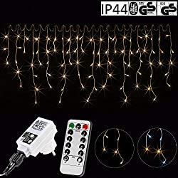 VOLTRONIC® 600LED Ice storm light string for inside and outside, color: warm white, GS tested, IP44, with 8 light modes / remote control / timer