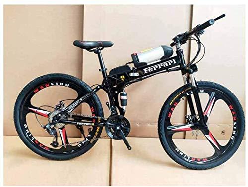 Bciclette Elettriche, Bicicletta elettrica Pieghevole Batteria al Litio Assisted Mountain Bike Adatto for Adulti variabile velocità di Guida in Acciaio al Carbonio Frame, Rosso, 21 velocità