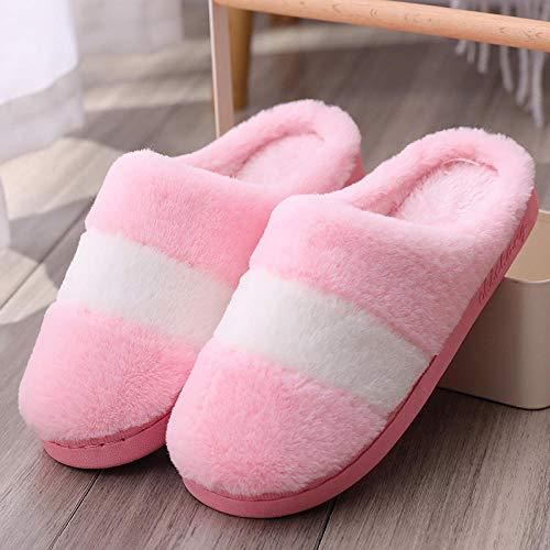 FPXNBONE Damen Hausschuhe mit Wollfutter, rutschfest, für den Innenbereich, weiche Unterseite, dicke Hausschuhe, rutschfeste Baumwolle, Pink 35, warm, gemütlich, rutschfest