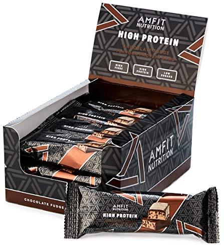 Amazon-Marke: Amfit Nutrition Proteinriegel mit niedrigem Zuckergehalt (19,6gr Protein - 0,8gr Zucker) mit Schokoladen-Fudge Geschmack - 12er Pack (12 x 60g)