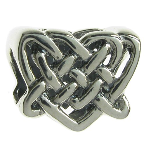 Queenberry Sterling Silver Celtic Love Knot Heart Bead for European Charm Bracelets