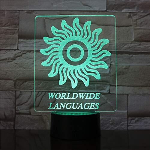 Lanugages Woldwide Acrílico USB Kid's Friends 3D LED Luz de noche Lámpara de mesa Mesita de noche Decoración Regalo de niños