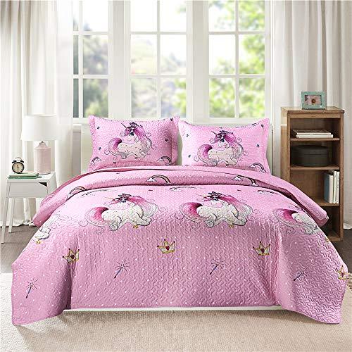 Mädchen-Bettwäsche-Set für Queen/volle Größe mit Einhorn-Motiv, Kinder-Tagesdecken-Set niedlichem Aufdruck, wendbare Tagesdecke, leichte Steppdecke Mädchen, rosa + 2 Kissenbezüge, alle Jahreszeiten