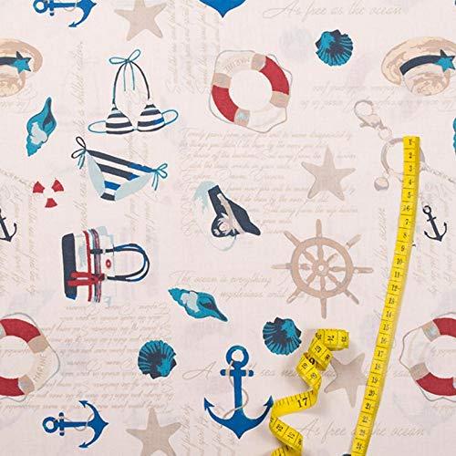 Hans-Textil-Shop Stoff Meterware Maritim Urlaub Strand Baumwolle - 1 Meter, Sommer, Deko, Kleidung, Kissen, Vorhang, Tischdecke