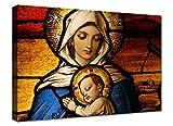 canvashop - Quadri Moderni cm 100x70 Arte Sacra Madonna con Il Bambino Stampa su Tela Canvas Quadro Moderno XXL