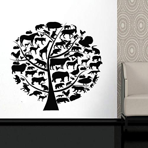 SLQUIET DIY Zoo Park Thema Baum Aufkleber Tiere Ast Vinyl Aufkleber Elefant Zebra Lion Aufkleber selbstklebende Wandbilder Wandaufkleber Rot M 59x57 cm