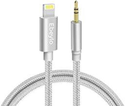 Aux Cable for car,Ebeylo Aux Cord Compatible with iPhone 6/7/8/X/Xs/Xr /11/11 Pro/iPad /iPod3.3ft 3.5mm Male Audio Adapter for Car Home Stereo &Headphone[Nylon Braided ] -Silver