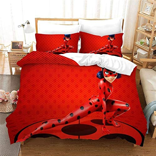 XWXBB Miraculous Ladybug Duvet Cover Bedding Set - Duvet Cover and Two Pillow Cases Microfibre 3D Digital Print 3-Piece Bedding (N01, Double 200 x 200 cm)