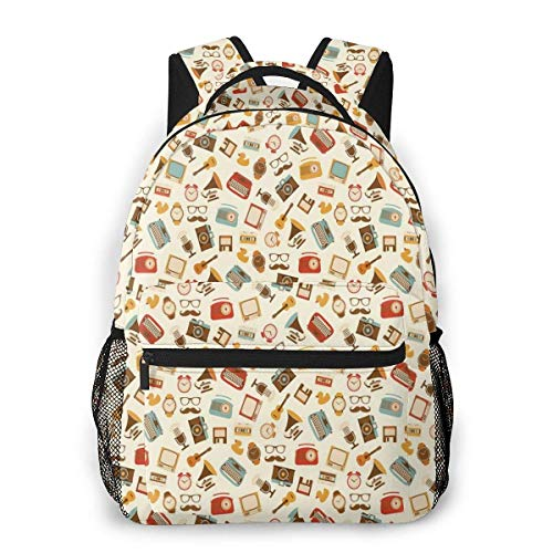 Lawenp Schulrucksäcke Retro Muster Altmodische Symbole Wecker Schreibmaschine Grammophon Radio Kassette für Teen Girls Boys 16 Zoll Student Bookbags Laptop Casual Rucksack